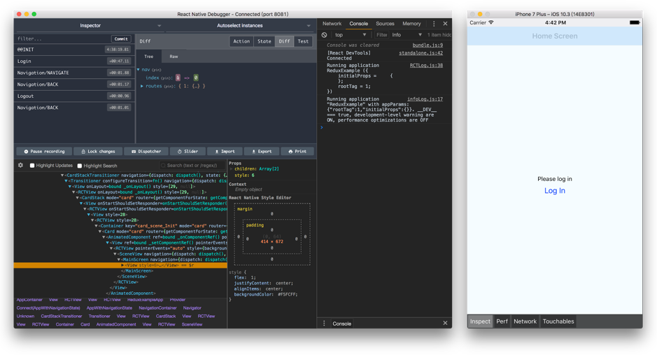 When you are developing a React Native app, a simple React Native Debugger is the only tool you need